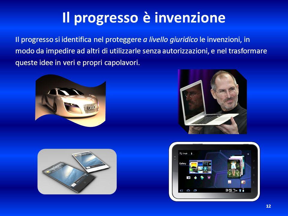 Il progresso è invenzione Il progresso si identifica nel proteggere a livello giuridico le invenzioni, in modo da impedire ad altri di utilizzarle sen