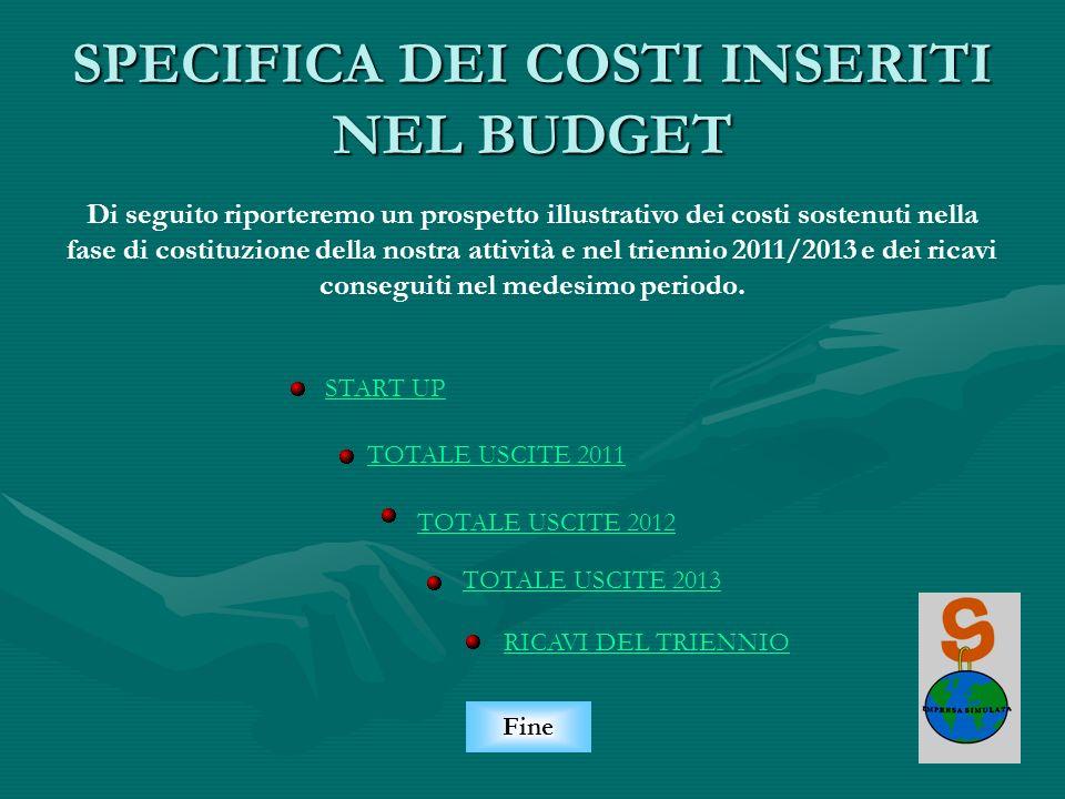 SPECIFICA DEI COSTI INSERITI NEL BUDGET START UP TOTALE USCITE 2011 TOTALE USCITE 2013 Fine Di seguito riporteremo un prospetto illustrativo dei costi