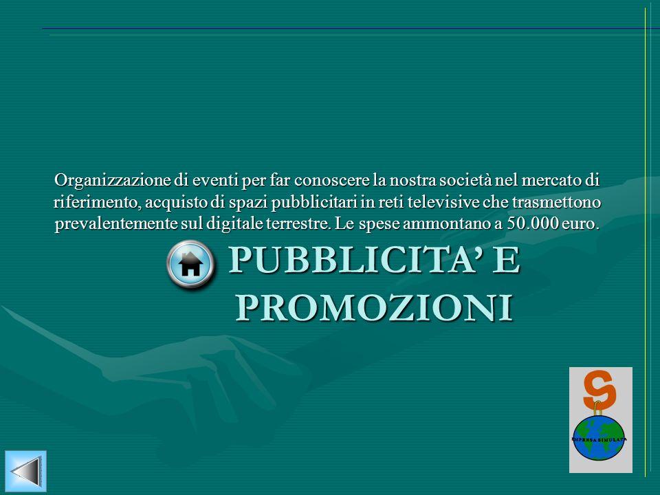 PUBBLICITA E PROMOZIONI Organizzazione di eventi per far conoscere la nostra società nel mercato di riferimento, acquisto di spazi pubblicitari in ret