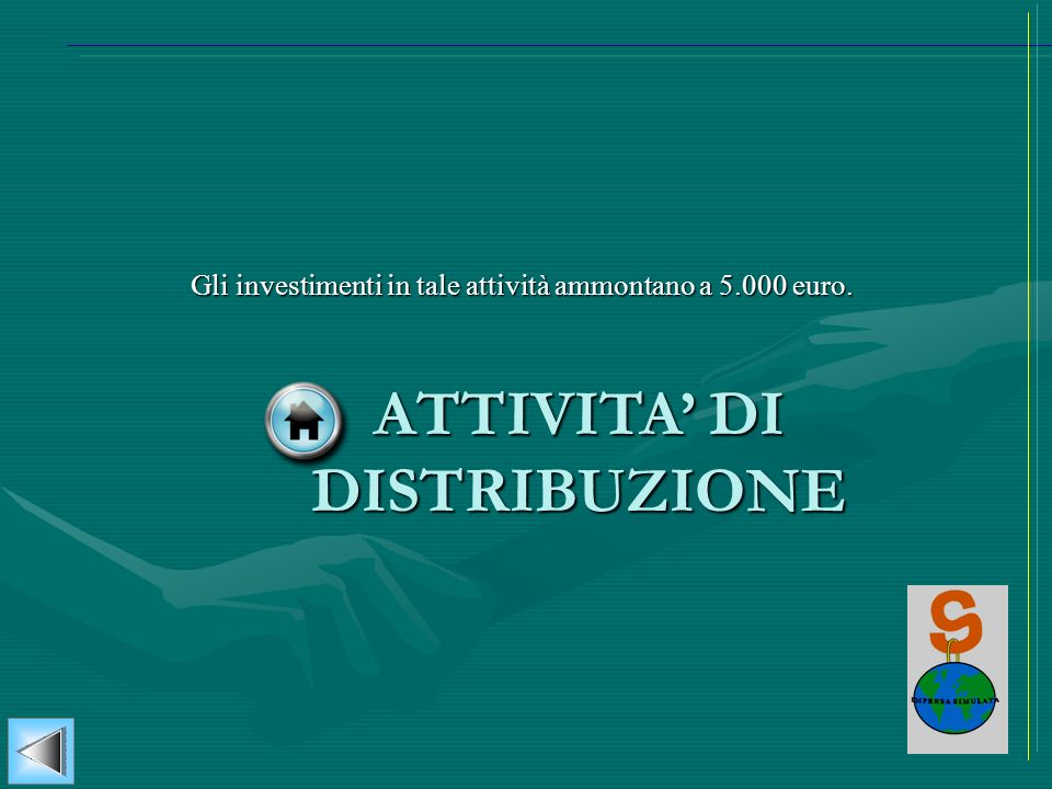 ATTIVITA DI DISTRIBUZIONE Gli investimenti in tale attività ammontano a 5.000 euro.