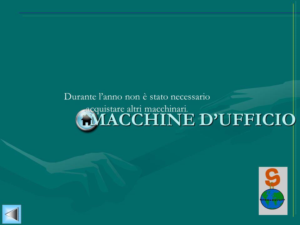 MACCHINE DUFFICIO Durante lanno non è stato necessario acquistare altri macchinari.