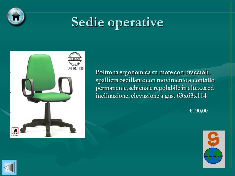 Sedie operative Poltrona ergonomica su ruote con braccioli, spalliera oscillante con movimento a contatto permanente,schienale regolabile in altezza e