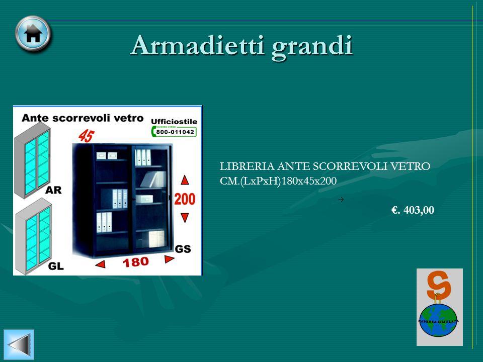 Armadietti grandi LIBRERIA ANTE SCORREVOLI VETRO CM.(LxPxH)180x45x200. 403,00