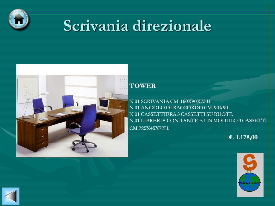 Scrivania direzionale TOWER N.01 SCRIVANIA CM. 160X90X73 H. N.01 ANGOLO DI RACCORDO CM. 90X90 N.01 CASSETTIERA 3 CASSETTI SU RUOTE N.01 LIBRERIA CON 4