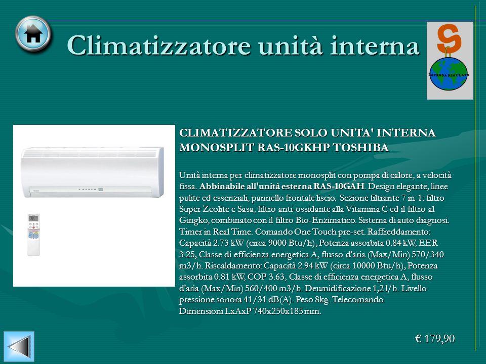 Climatizzatore unità interna CLIMATIZZATORE SOLO UNITA' INTERNA MONOSPLIT RAS-10GKHP TOSHIBA Unità interna per climatizzatore monosplit con pompa di c
