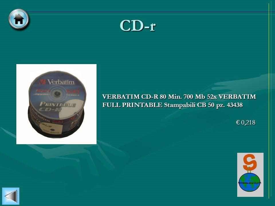 CD-r VERBATIM CD-R 80 Min. 700 Mb 52x VERBATIM FULL PRINTABLE Stampabili CB 50 pz. 43438 0,218 0,218