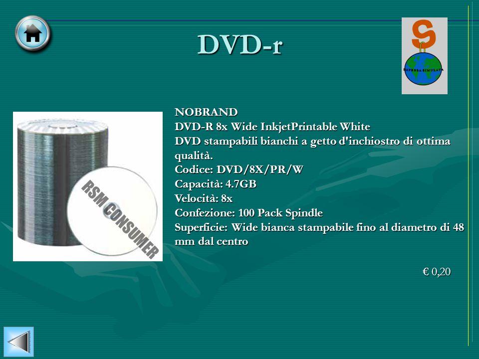 DVD-r NOBRAND DVD-R 8x Wide InkjetPrintable White DVD stampabili bianchi a getto d'inchiostro di ottima qualità. Codice: DVD/8X/PR/W Capacità: 4.7GB V