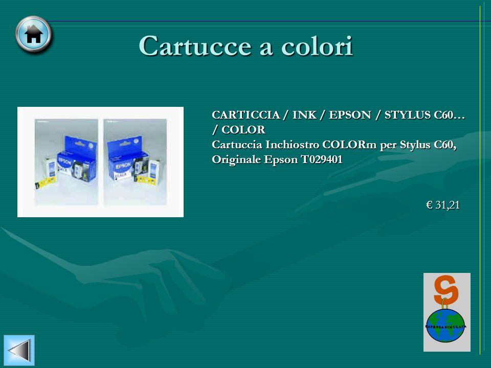 Cartucce a colori CARTICCIA / INK / EPSON / STYLUS C60… / COLOR Cartuccia Inchiostro COLORm per Stylus C60, Originale Epson T029401 31,21 31,21