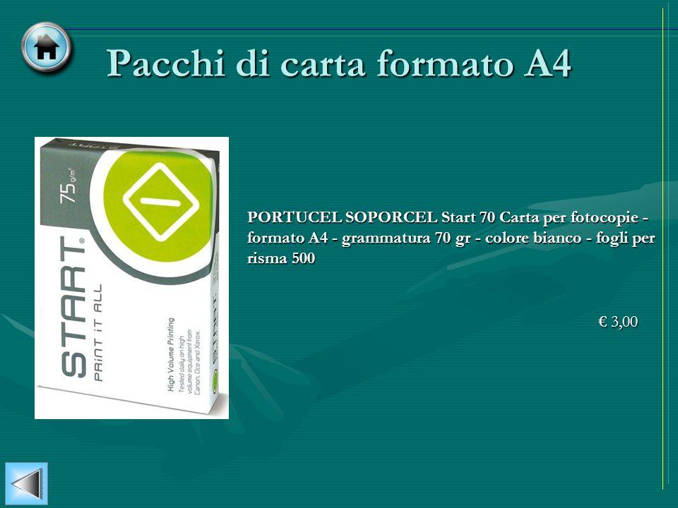 Pacchi di carta formato A4 PORTUCEL SOPORCEL Start 70 Carta per fotocopie - formato A4 - grammatura 70 gr - colore bianco - fogli per risma 500 3,00 3