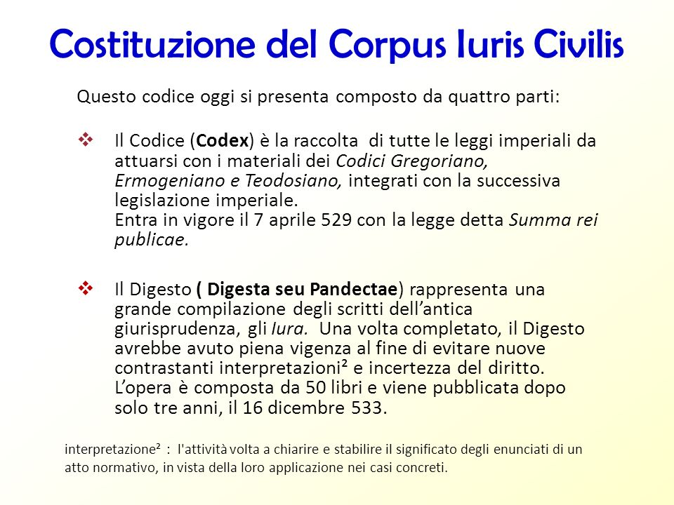 Costituzione del Corpus Iuris Civilis Questo codice oggi si presenta composto da quattro parti: Il Codice (Codex) è la raccolta di tutte le leggi impe
