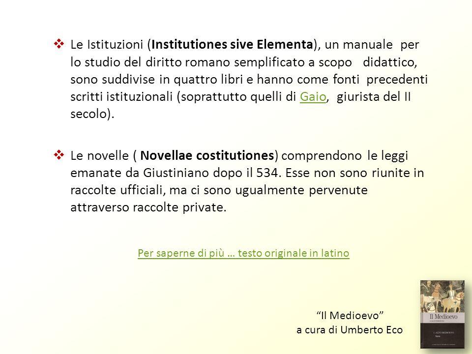 Le Istituzioni (Institutiones sive Elementa), un manuale per lo studio del diritto romano semplificato a scopo didattico, sono suddivise in quattro li