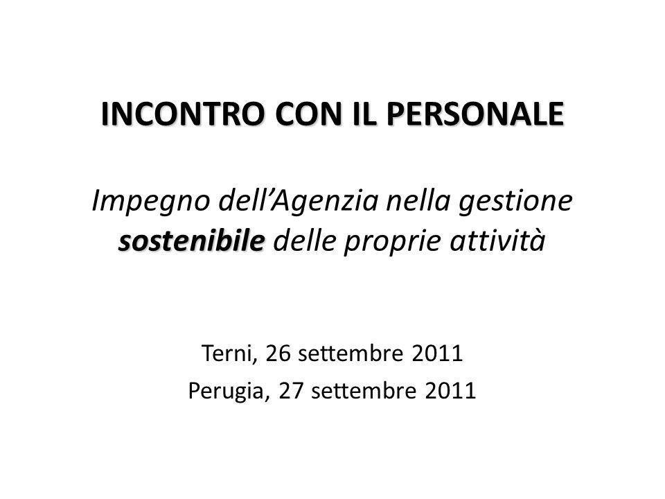 INCONTRO CON IL PERSONALE sostenibile INCONTRO CON IL PERSONALE Impegno dellAgenzia nella gestione sostenibile delle proprie attività Terni, 26 settem