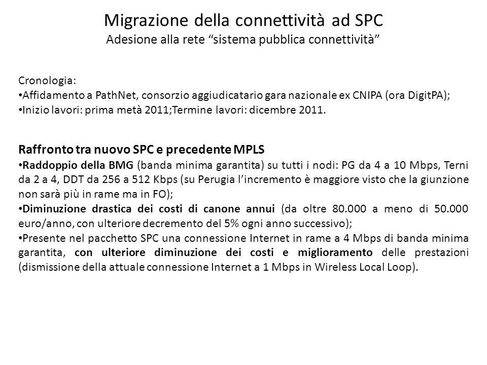 Migrazione della connettività ad SPC Adesione alla rete sistema pubblica connettività Cronologia: Affidamento a PathNet, consorzio aggiudicatario gara