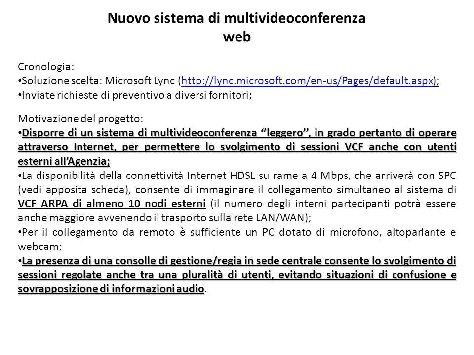 Nuovo sistema di multivideoconferenza web Cronologia: Soluzione scelta: Microsoft Lync (http://lync.microsoft.com/en-us/Pages/default.aspx);http://lyn