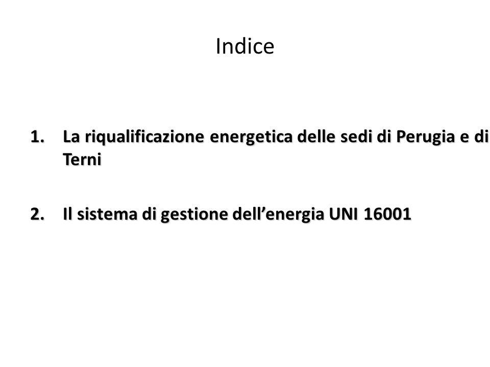 Indice 1.La riqualificazione energetica delle sedi di Perugia e di Terni 2.Il sistema di gestione dellenergia UNI 16001