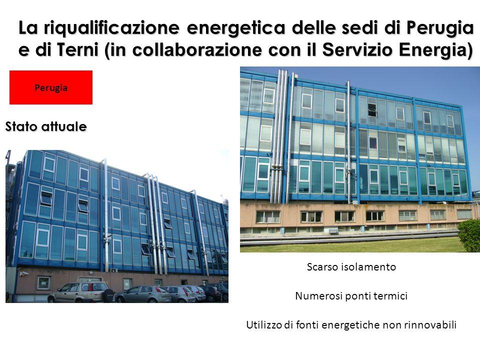 Scarso isolamento Numerosi ponti termici Utilizzo di fonti energetiche non rinnovabili La riqualificazione energetica delle sedi di Perugia e di Terni