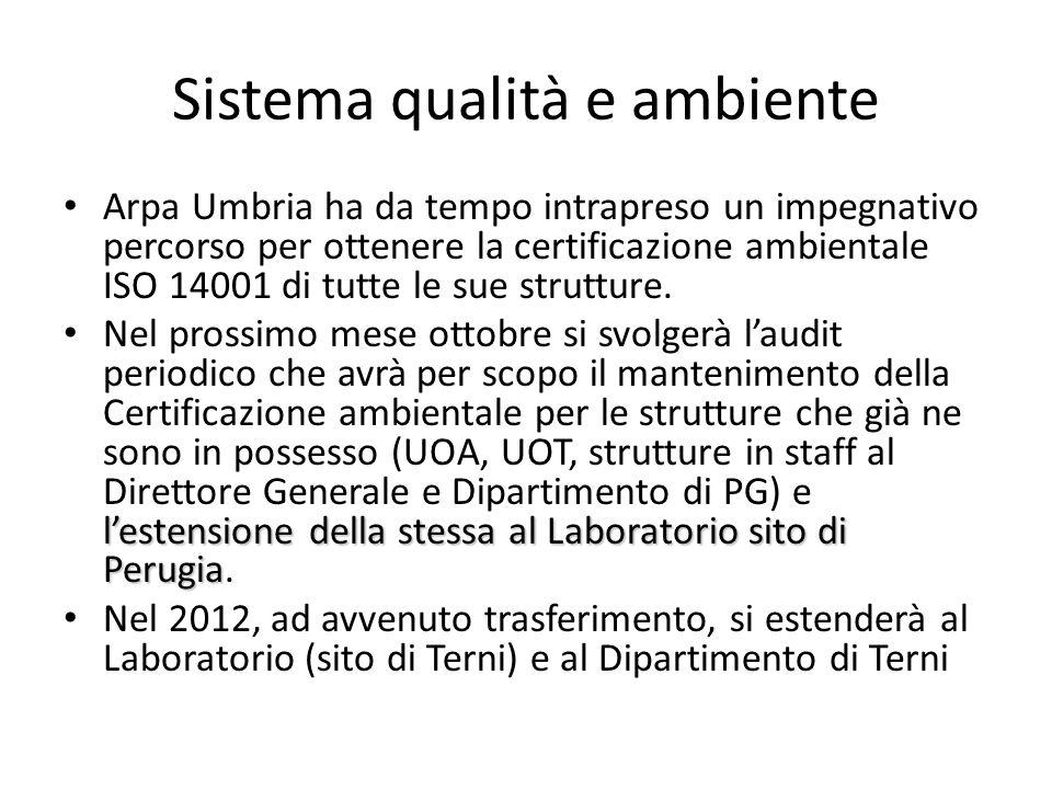 Sistema qualità e ambiente Arpa Umbria ha da tempo intrapreso un impegnativo percorso per ottenere la certificazione ambientale ISO 14001 di tutte le