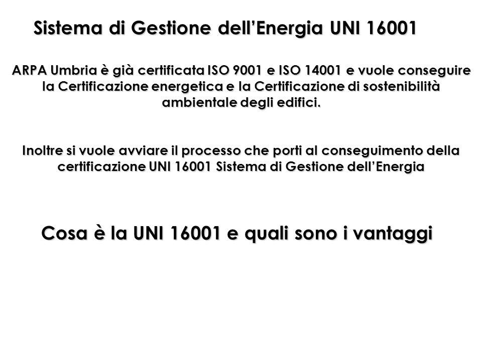 Sistema di Gestione dellEnergia UNI 16001 ARPA Umbria è già certificata ISO 9001 e ISO 14001 e vuole conseguire la Certificazione energetica e la Cert