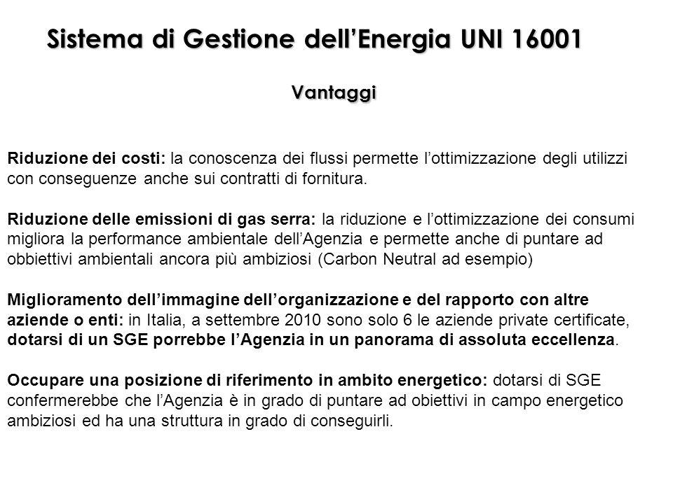 Sistema di Gestione dellEnergia UNI 16001 Vantaggi Riduzione dei costi: la conoscenza dei flussi permette lottimizzazione degli utilizzi con conseguen