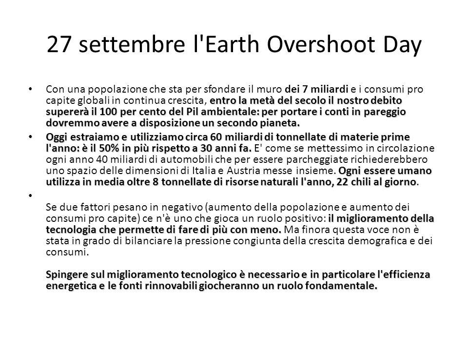 27 settembre l'Earth Overshoot Day entro la metà del secolo il nostro debito supererà il 100 per cento del Pil ambientale: per portare i conti in pare