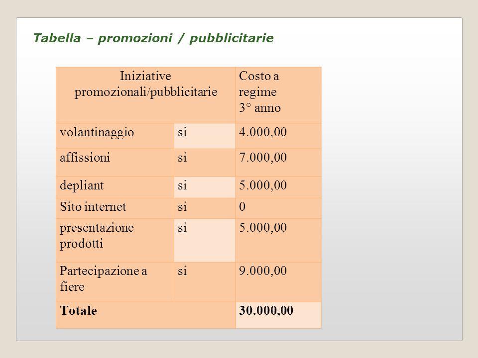 Tabella – promozioni / pubblicitarie Iniziative promozionali/pubblicitarie Costo a regime 3° anno volantinaggiosi4.000,00 affissionisi7.000,00 deplian