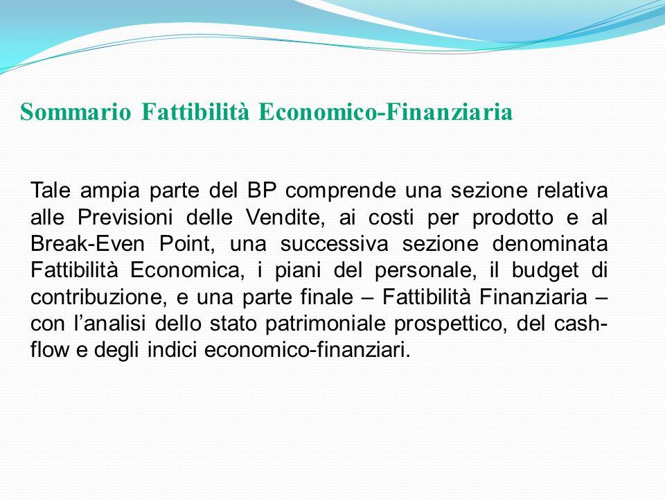 Tale ampia parte del BP comprende una sezione relativa alle Previsioni delle Vendite, ai costi per prodotto e al Break-Even Point, una successiva sezi