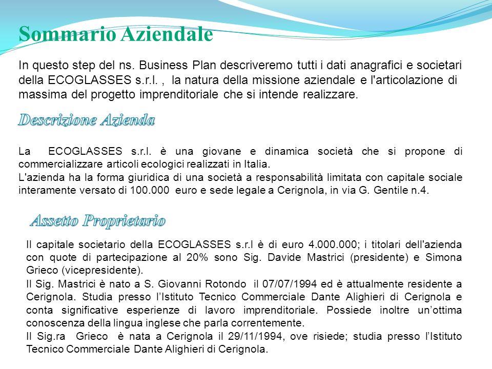 In questo step del ns. Business Plan descriveremo tutti i dati anagrafici e societari della ECOGLASSES s.r.l., la natura della missione aziendale e l'