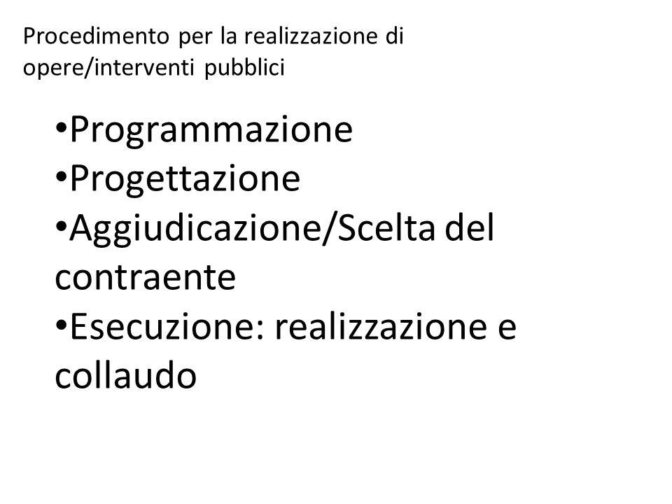 Procedimento per la realizzazione di opere/interventi pubblici Programmazione Progettazione Aggiudicazione/Scelta del contraente Esecuzione: realizzazione e collaudo