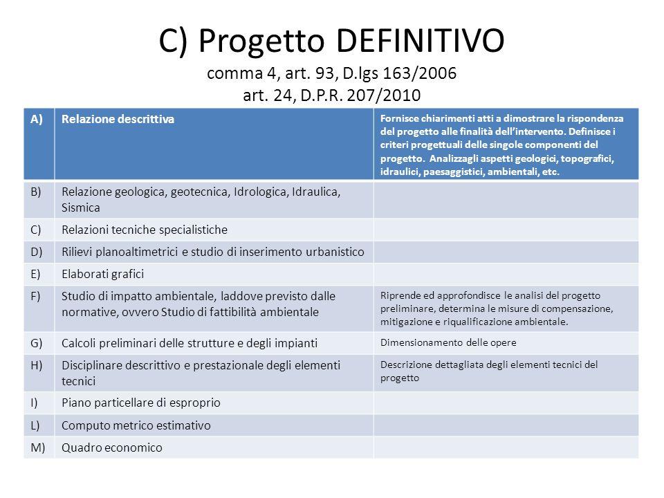 C) Progetto DEFINITIVO comma 4, art. 93, D.lgs 163/2006 art.
