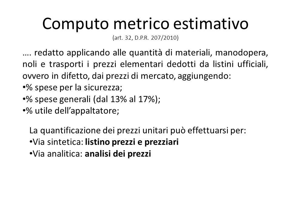 Computo metrico estimativo (art. 32, D.P.R. 207/2010) ….