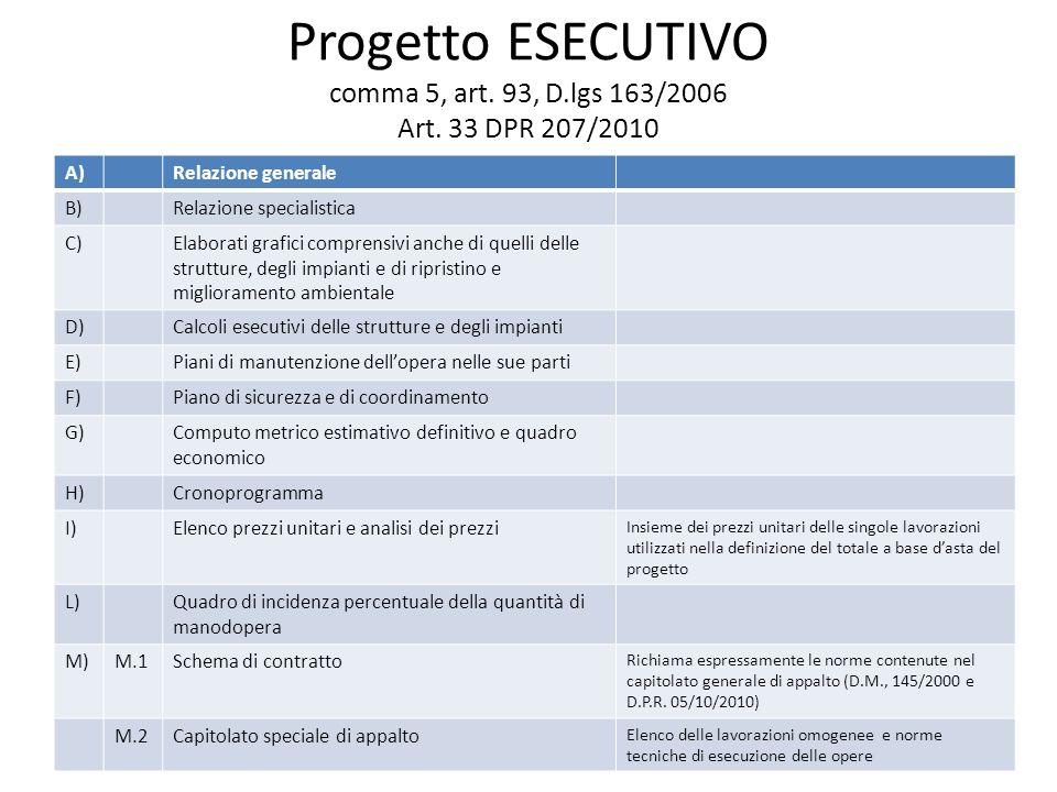 Progetto ESECUTIVO comma 5, art. 93, D.lgs 163/2006 Art.