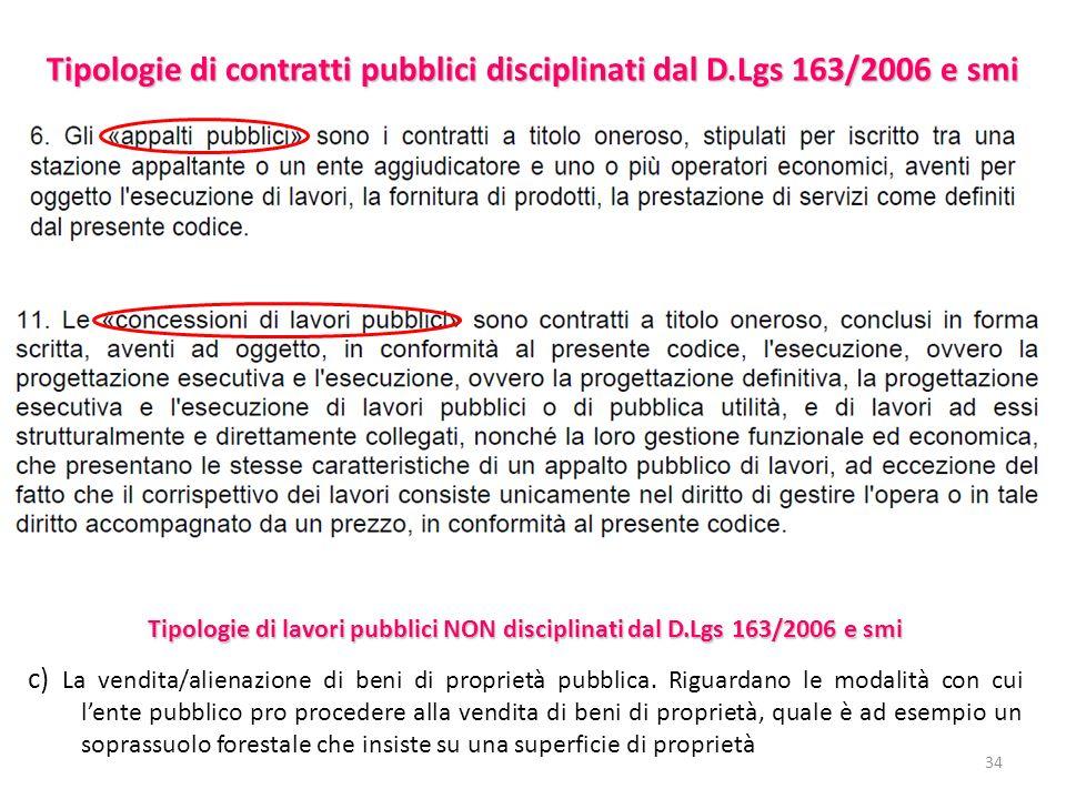 34 Tipologie di contratti pubblici disciplinati dal D.Lgs 163/2006 e smi c) La vendita/alienazione di beni di proprietà pubblica.
