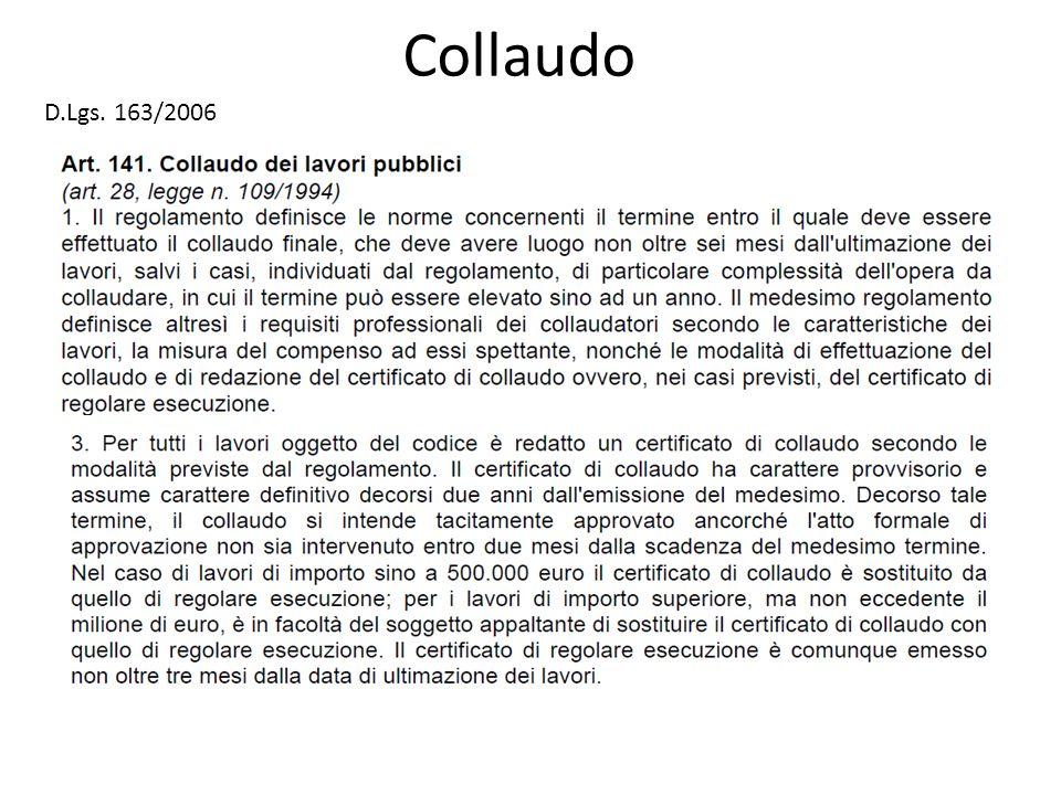 Collaudo D.Lgs. 163/2006