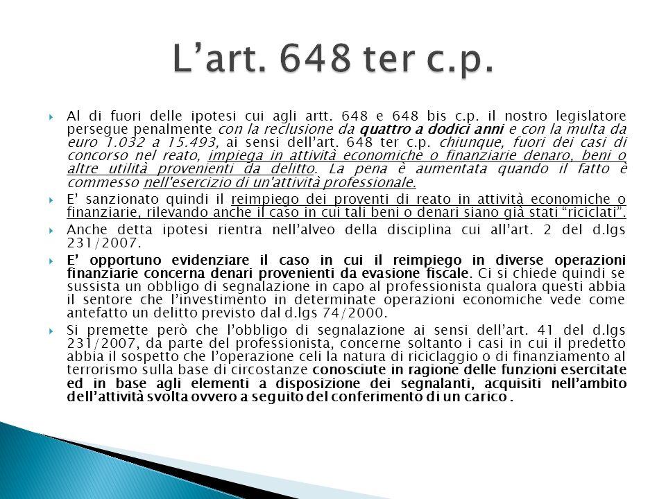 Al di fuori delle ipotesi cui agli artt. 648 e 648 bis c.p. il nostro legislatore persegue penalmente con la reclusione da quattro a dodici anni e con