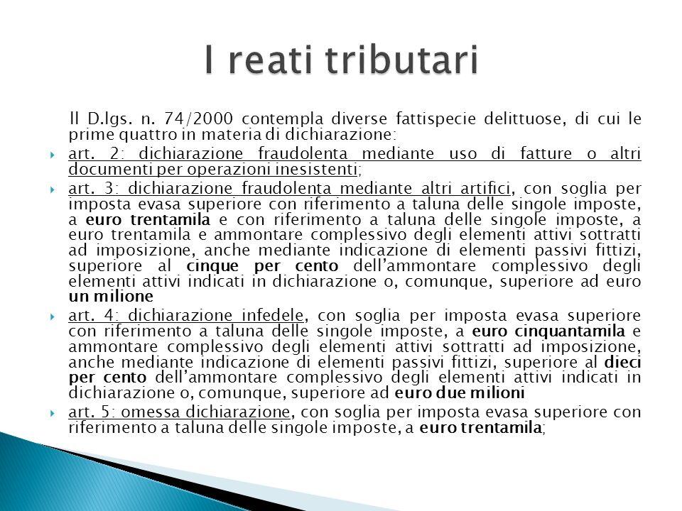 ll D.lgs. n. 74/2000 contempla diverse fattispecie delittuose, di cui le prime quattro in materia di dichiarazione: art. 2: dichiarazione fraudolenta