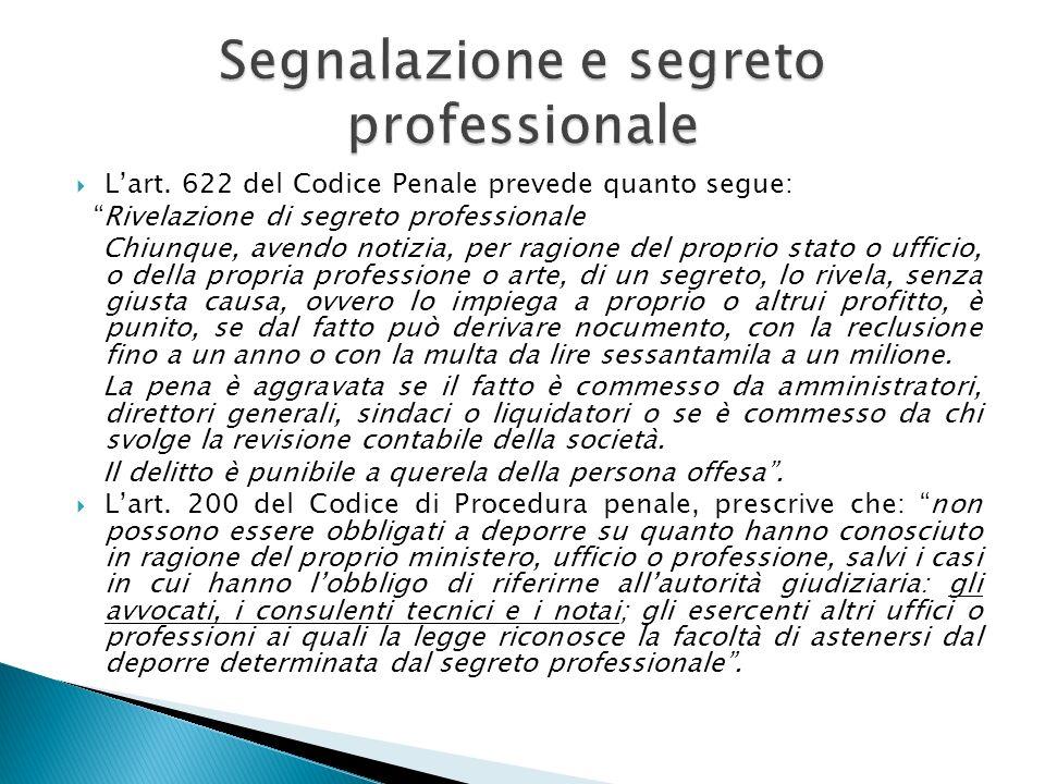 Lart. 622 del Codice Penale prevede quanto segue: Rivelazione di segreto professionale Chiunque, avendo notizia, per ragione del proprio stato o uffic