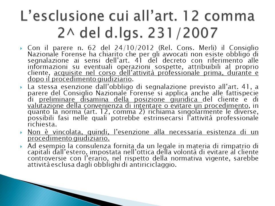 Con il parere n. 62 del 24/10/2012 (Rel. Cons. Merli) il Consiglio Nazionale Forense ha chiarito che per gli avvocati non esiste obbligo di segnalazio
