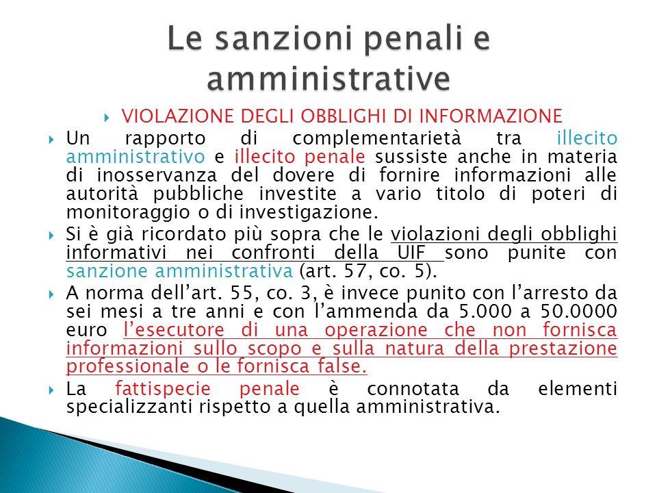 VIOLAZIONE DEGLI OBBLIGHI DI INFORMAZIONE Un rapporto di complementarietà tra illecito amministrativo e illecito penale sussiste anche in materia di i