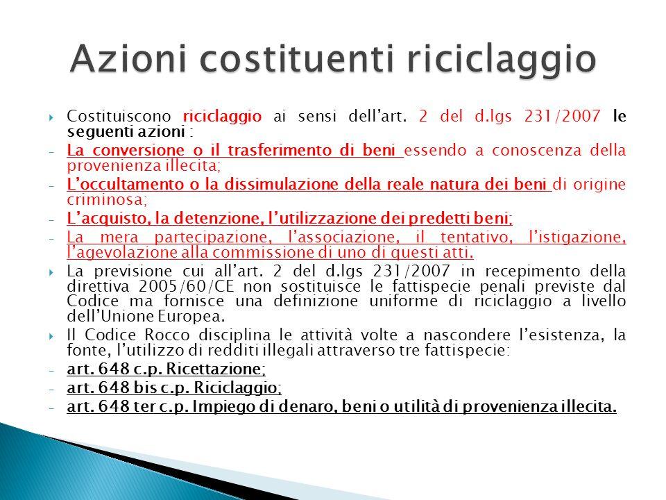 Costituiscono riciclaggio ai sensi dellart. 2 del d.lgs 231/2007 le seguenti azioni : - La conversione o il trasferimento di beni essendo a conoscenza