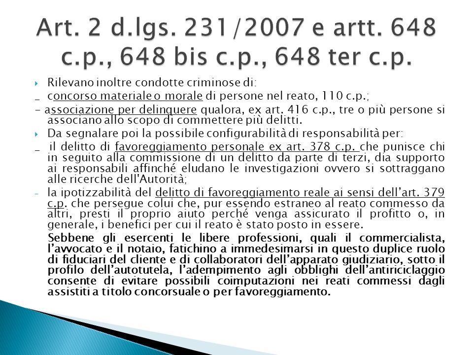 Rilevano inoltre condotte criminose di: _ concorso materiale o morale di persone nel reato, 110 c.p.; - associazione per delinquere qualora, ex art. 4