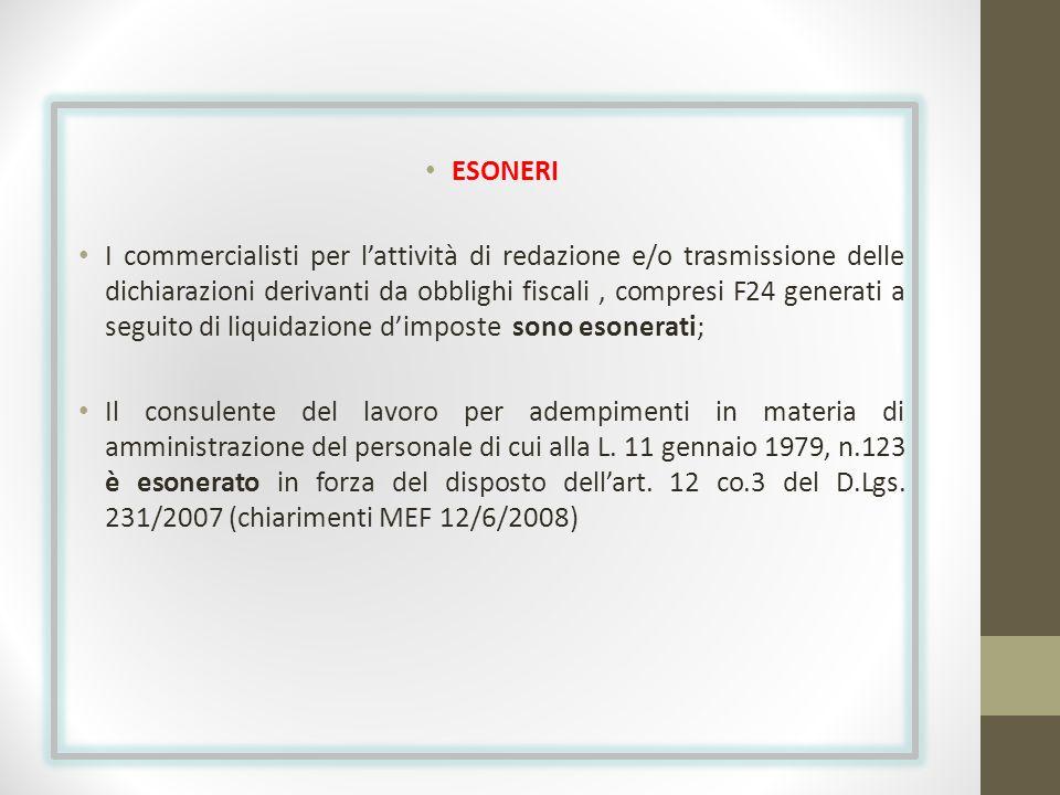 ESONERI I commercialisti per lattività di redazione e/o trasmissione delle dichiarazioni derivanti da obblighi fiscali, compresi F24 generati a seguit