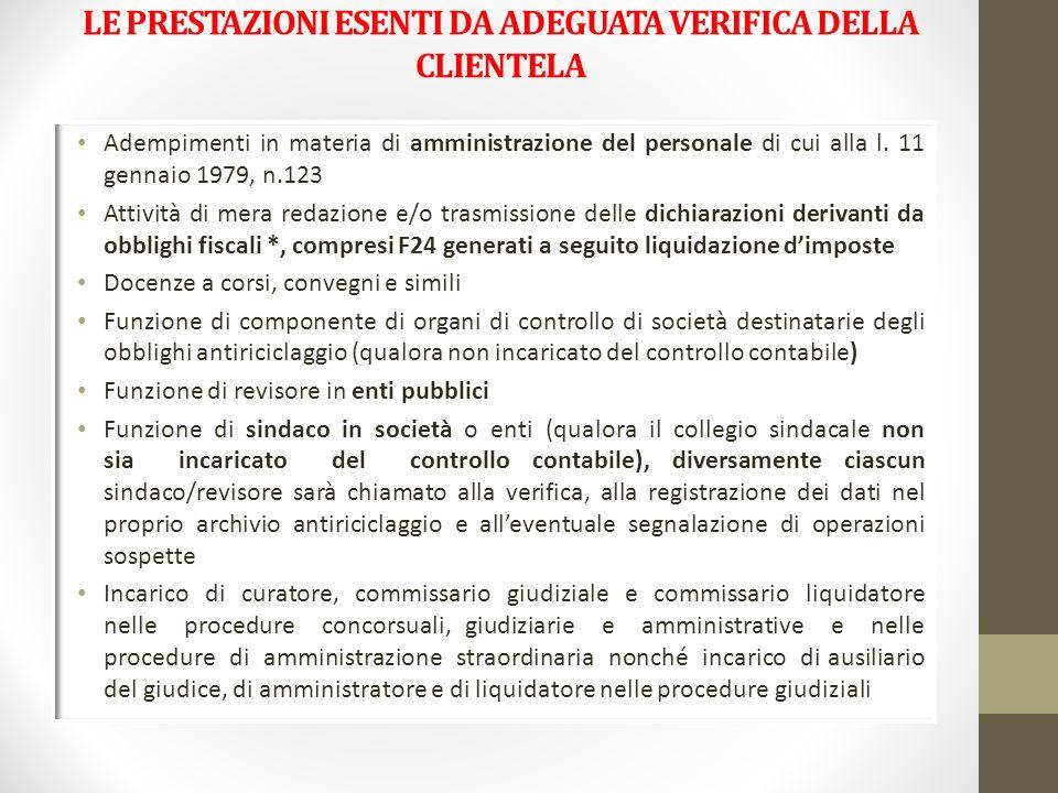 LE PRESTAZIONI ESENTI DA ADEGUATA VERIFICA DELLA CLIENTELA Adempimenti in materia di amministrazione del personale di cui alla l. 11 gennaio 1979, n.1