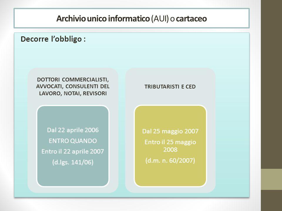 Archivio unico informatico (AUI) o cartaceo Decorre lobbligo : DOTTORI COMMERCIALISTI, AVVOCATI, CONSULENTI DEL LAVORO, NOTAI, REVISORI Dal 22 aprile