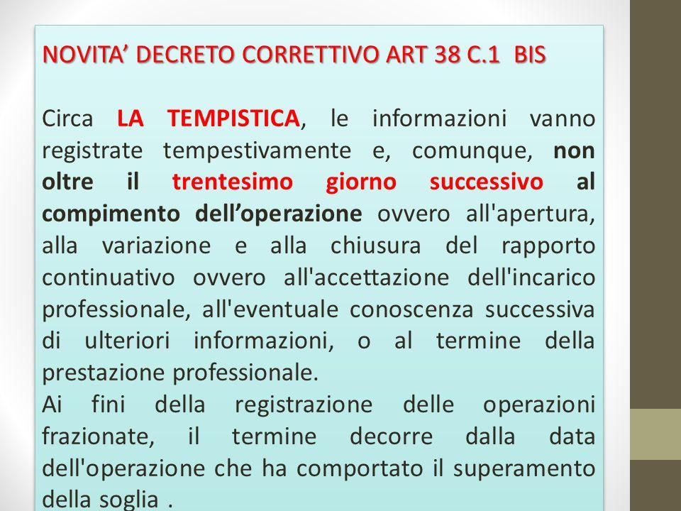 NOVITA DECRETO CORRETTIVO ART 38 C.1 BIS Circa LA TEMPISTICA, le informazioni vanno registrate tempestivamente e, comunque, non oltre il trentesimo gi