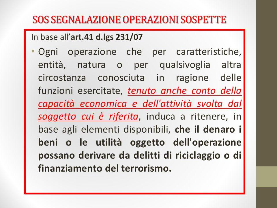SOS SEGNALAZIONE OPERAZIONI SOSPETTE In base allart.41 d.lgs 231/07 Ogni operazione che per caratteristiche, entità, natura o per qualsivoglia altra c