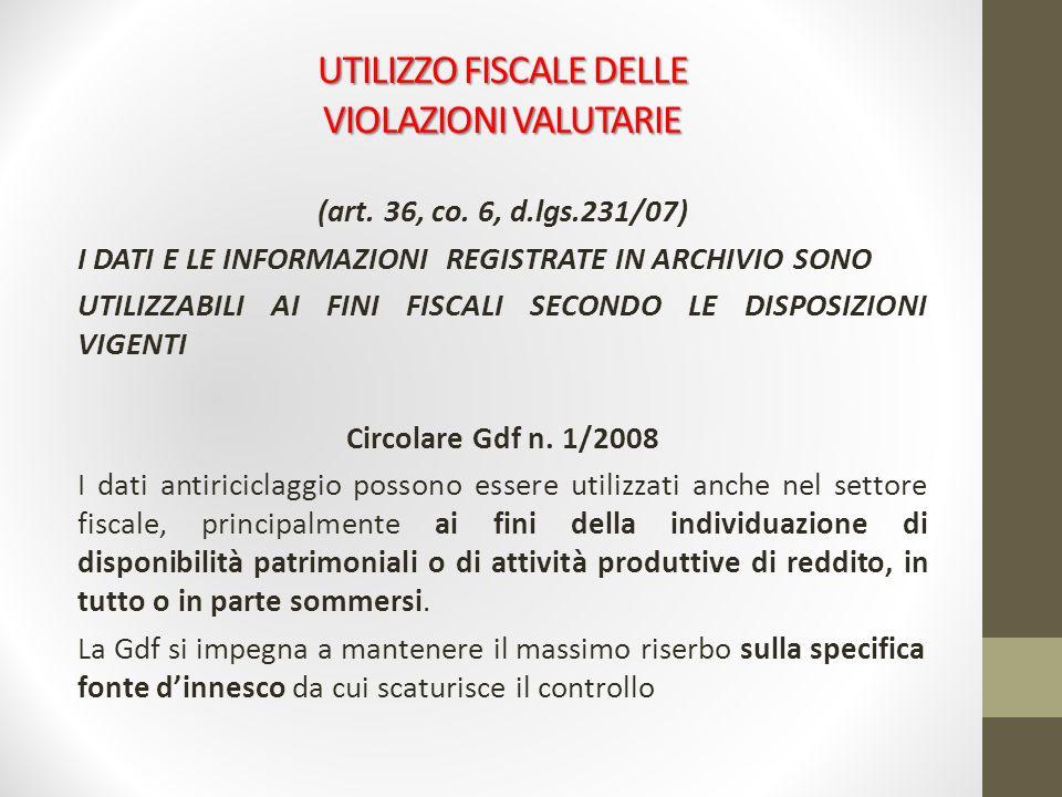 UTILIZZO FISCALE DELLE VIOLAZIONI VALUTARIE (art. 36, co. 6, d.lgs.231/07) I DATI E LE INFORMAZIONI REGISTRATE IN ARCHIVIO SONO UTILIZZABILI AI FINI F