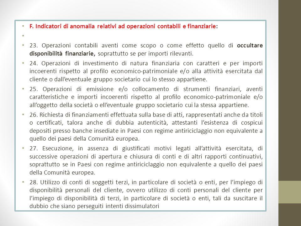 F. Indicatori di anomalia relativi ad operazioni contabili e finanziarie: 23. Operazioni contabili aventi come scopo o come effetto quello di occultar