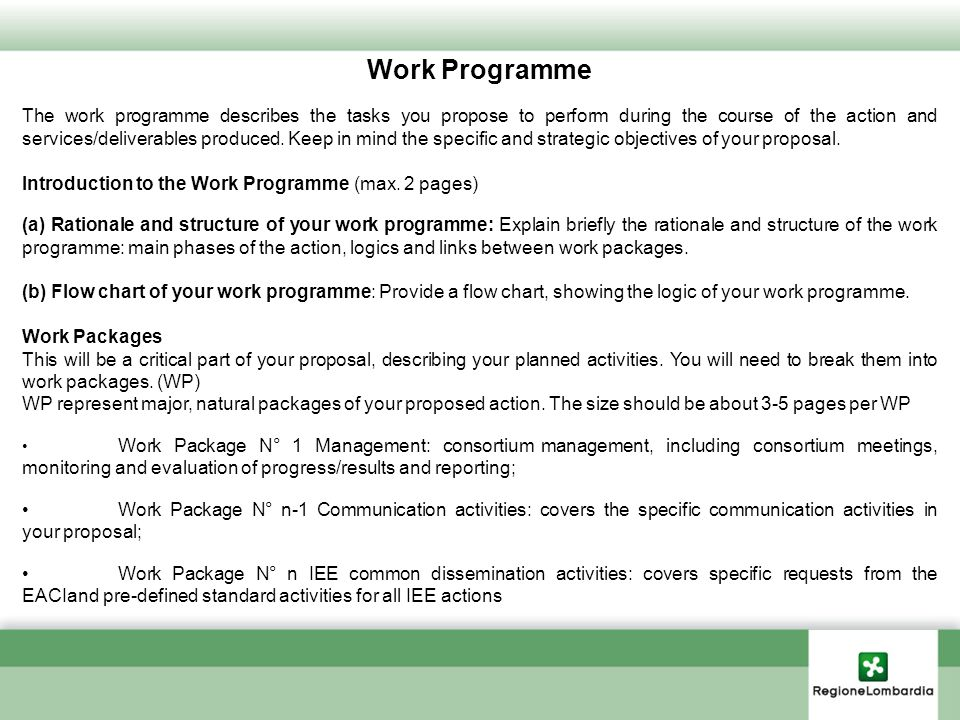 Work Programme The work programme describes the tasks you propose to perform during the course of the action and services/deliverables produced. Keep