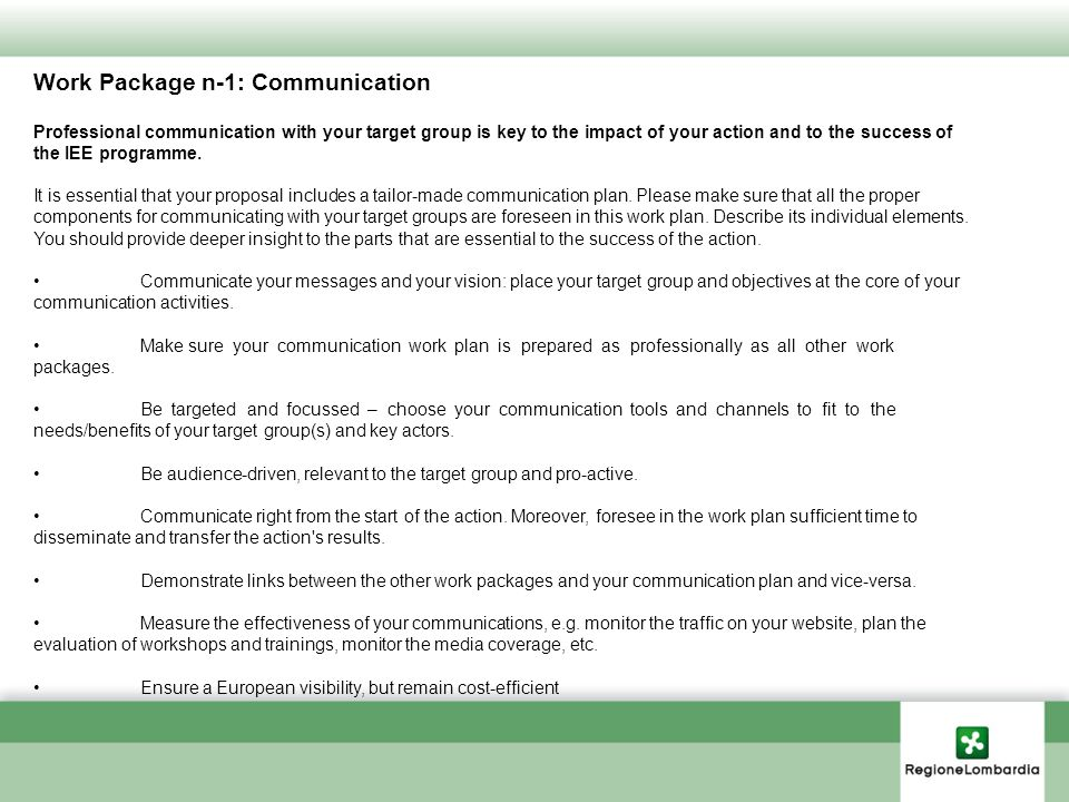 Work Package n-1: Communication Professional communication with your target group is key to the impact of your action and to the success of the IEE programme.