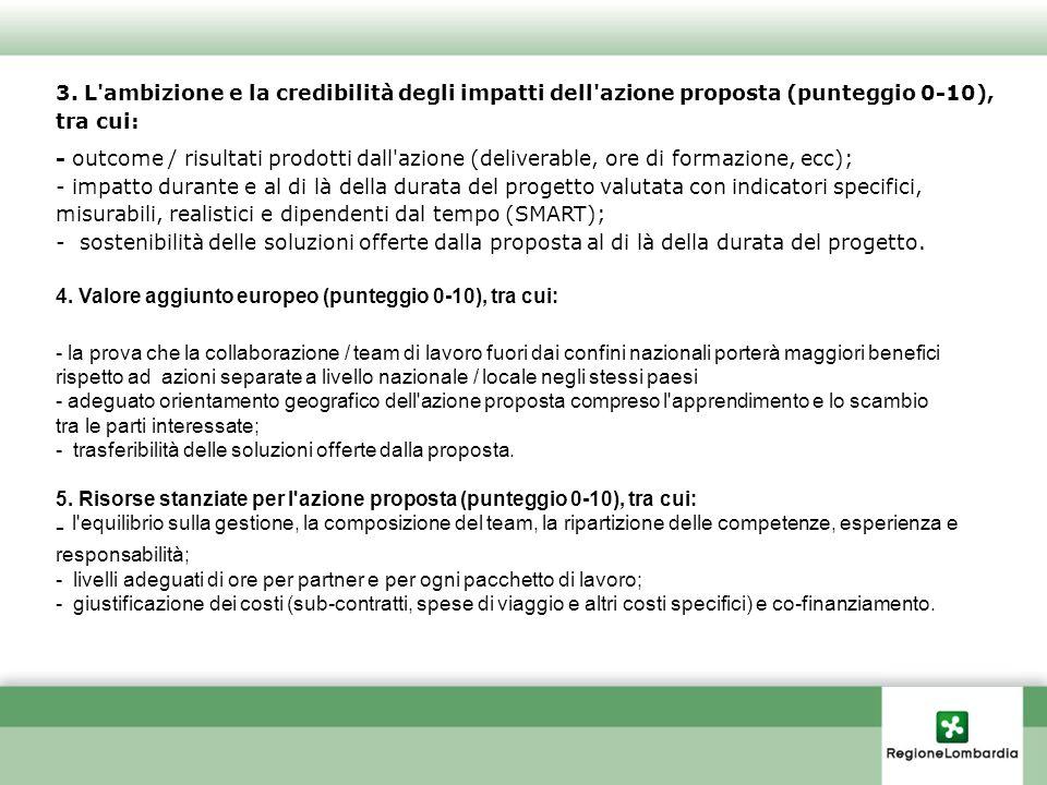 3. L'ambizione e la credibilità degli impatti dell'azione proposta (punteggio 0-10), tra cui: - outcome / risultati prodotti dall'azione (deliverable,